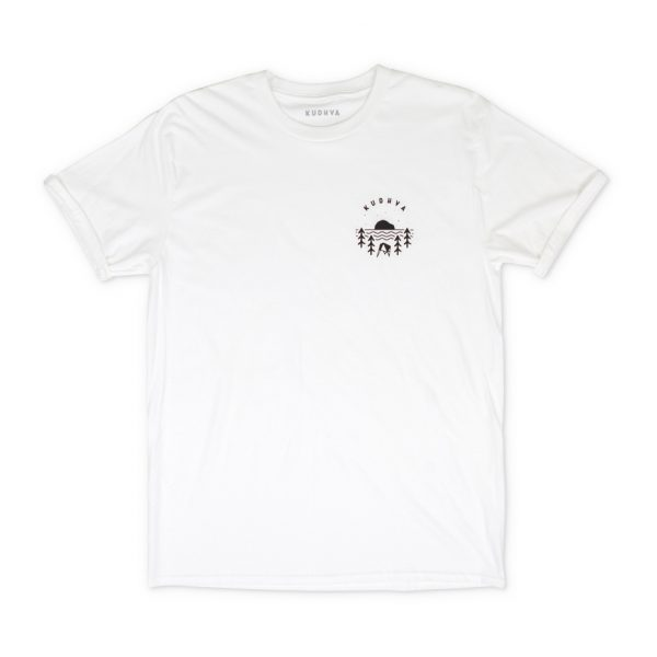 White T-shirt with small Kudhva logo on the chest. Available in S, M and L