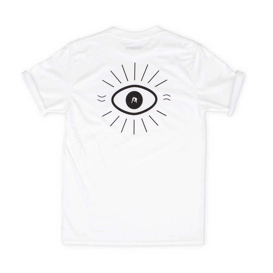 White T-shirt with small Kudhva all seeing eye logo on the chest and large back print of the Kudhva eye on the reverse.