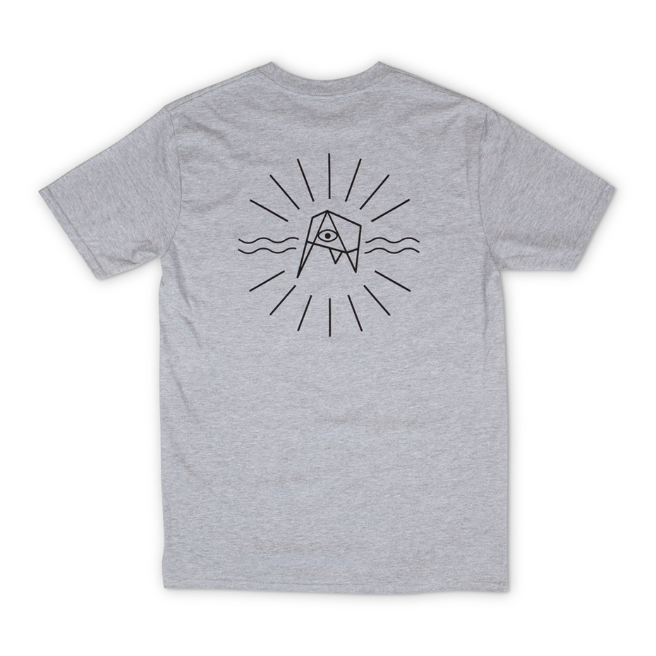 Grey T-shirt with Kudhva wording on the chest (front) and large Kudhva graphic on the reverse.
